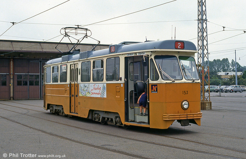 Car 153 at Norrköping Depot (Vagnhallen) on 2nd August 1991.