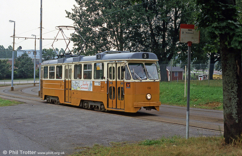 Norrkoping M67 car 136 of 1967 at SMHI (The Swedish Meteorological and Hydrological Institute) on 2nd August 1991.
