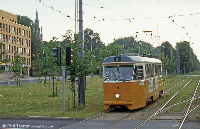 Car 136 at Norrtull on 2nd August 1991.