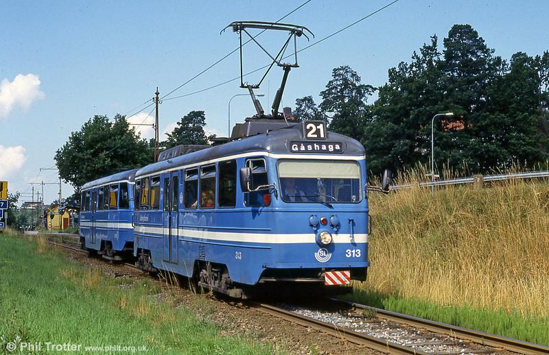 Stockholm Lidingobanan A30 no. 313 at Centralvagen, 31st July 1991.