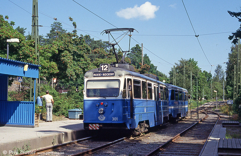 Car 301 at Gashaga on 31st July 1991. Class A30 'ängbyvagn' cars 301-310 were built by Hammarby in 1983 to 1988.