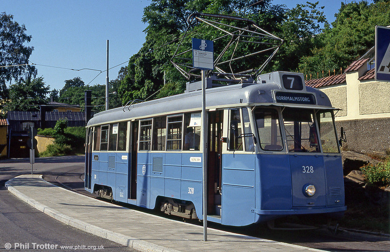 Former Goteborg class A31 'Mustang' car 328 at Djurgarden on 31st July 1991. The car is of a type built by Hägglund in 1947 to 1949.