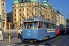Car 330 at Norrmalmstorg on 31st July 1991. This is another former Goteborg class A31 'Mustang' built by Hägglund in 1949. The impressive building behind is that of the agricultural bank Landshypotek.