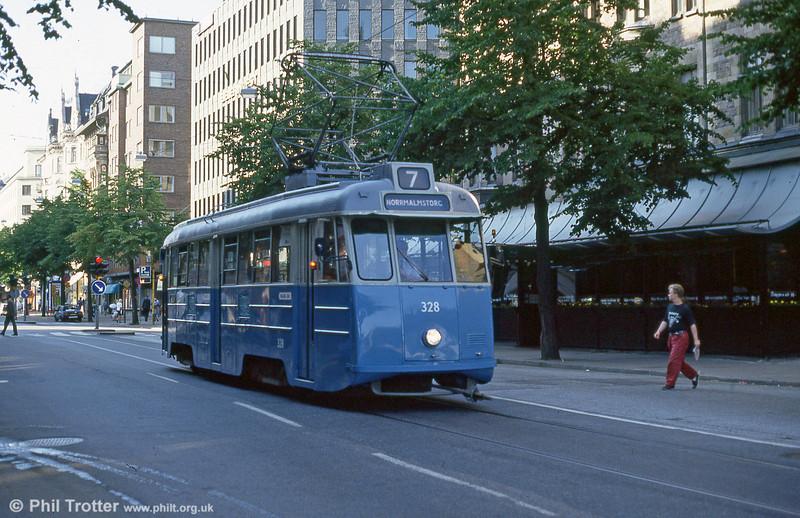 Car 328 at Norrmalmstorg on 31st July 1991.