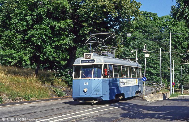 Car 328 at Djurgarden on 31st July 1991.