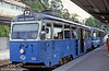 Stockholm Nockebybanan car 301 at Alvik on 31st August 1991. Route 12 is a suburban tramway in the western suburbs of Stockholm. The route had bidirectional cars. At Alvik, trams connected with the metro network.