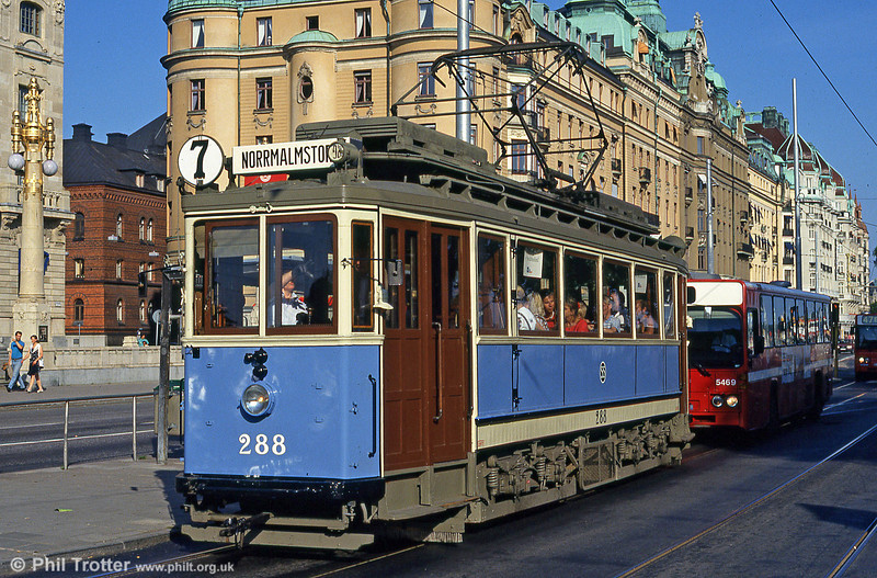 On Stockholm's Djurgardenslinen, worked by vintage cars, this is Stockholms Spårvägar class A11 no. 288 built by MAN/NWAG in 1922 seen in service on route 7 at Norrmalmstorg on 31st July 1991.