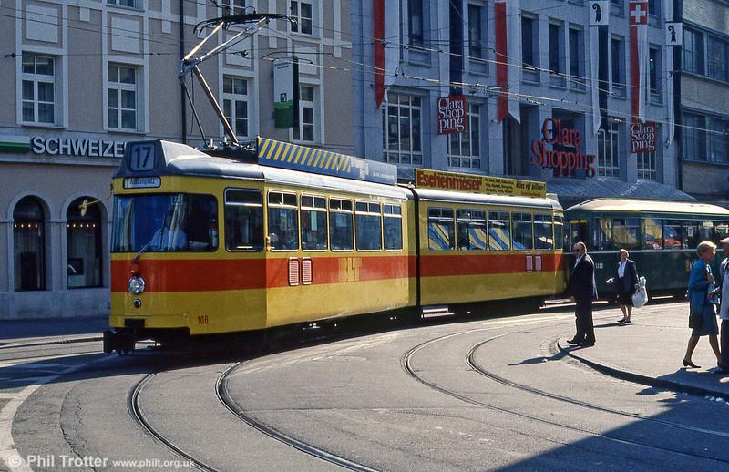 Basel BLT 106 at Claraplatz on 7th September 1989.