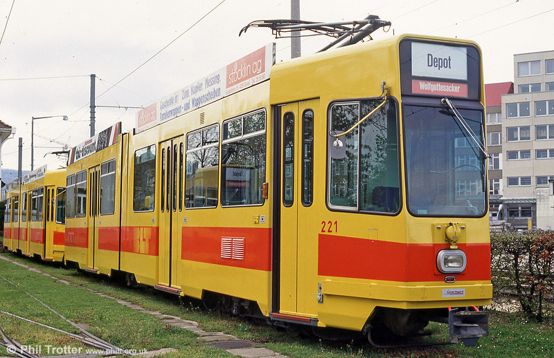 Car 221 at Dreispitz depot on16th April 1992.