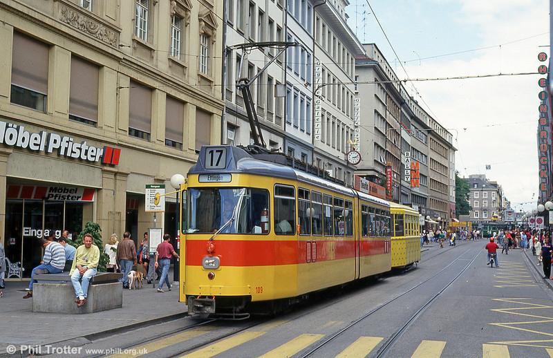 Basel BLT 109 at Claraplatz on 15th April 1992.