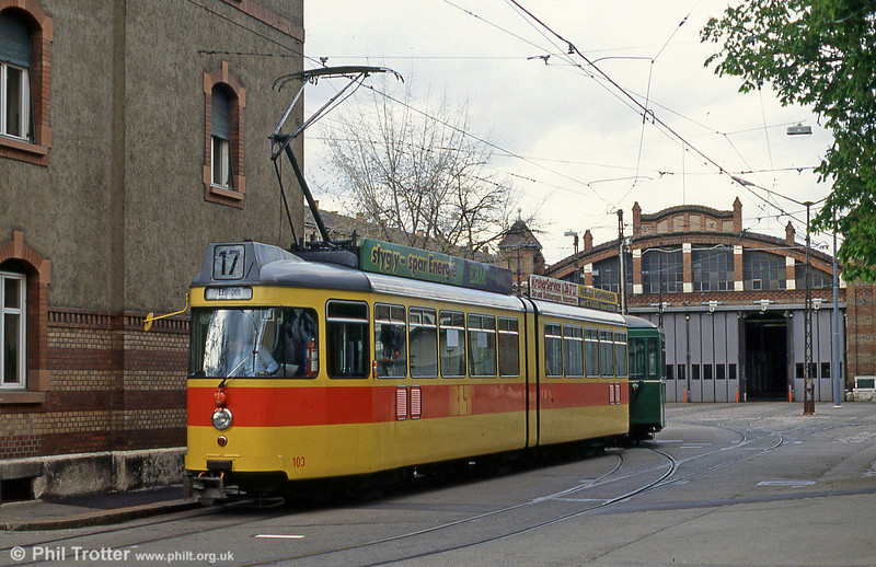 Car 103 at Weisenplatz depot on 15th April 1992.