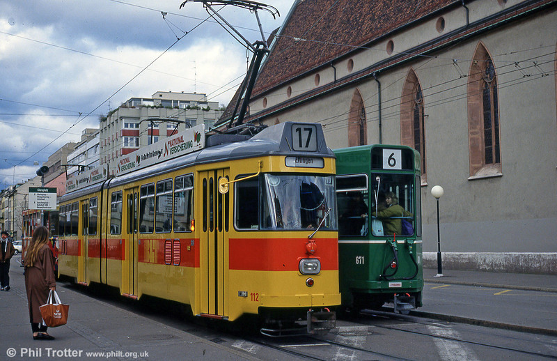 Basel BLT 112 at Claraplatz, 15th April 1992.