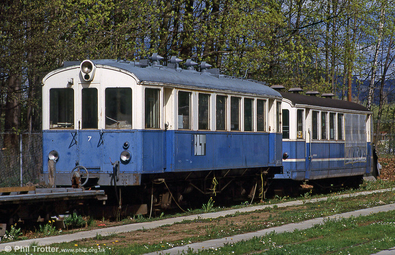Former BLT car 7, built by SWS in 1923, out of use at Eglisee on 15th April 1992.