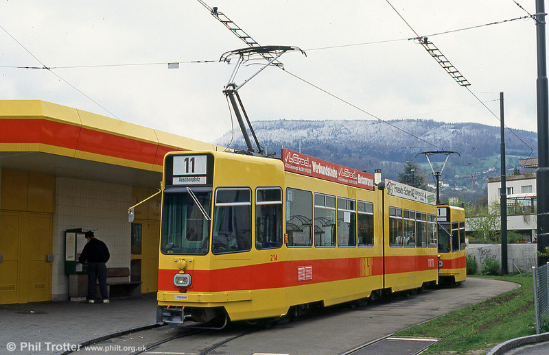 Basel BLT 214 at Aesch on 16th April 1992. Cars 201 to 266 were built by Schindler between 1976 and 1981.