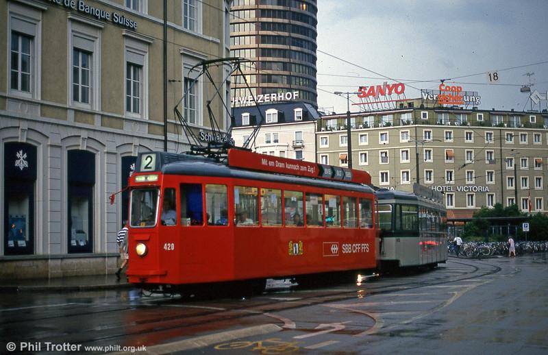 Car 420 near the Hauptbahnhof on 4th August 1993.