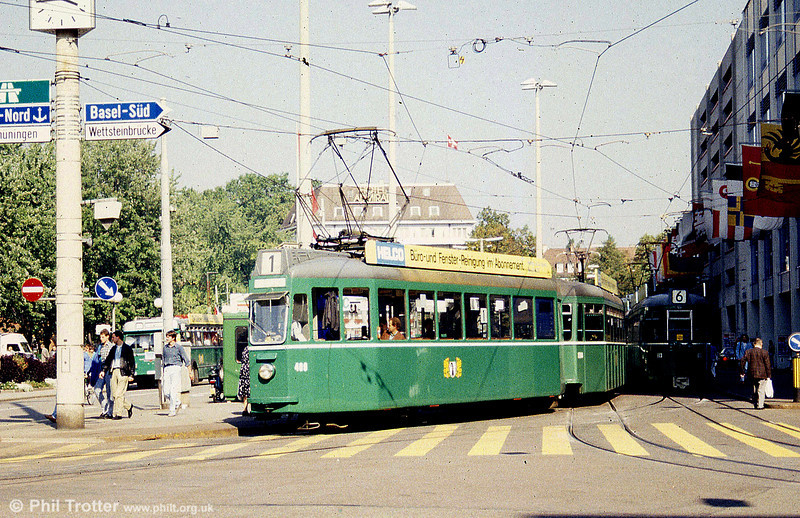 Car 409 at Aeschenplatz on 7th September 1989.