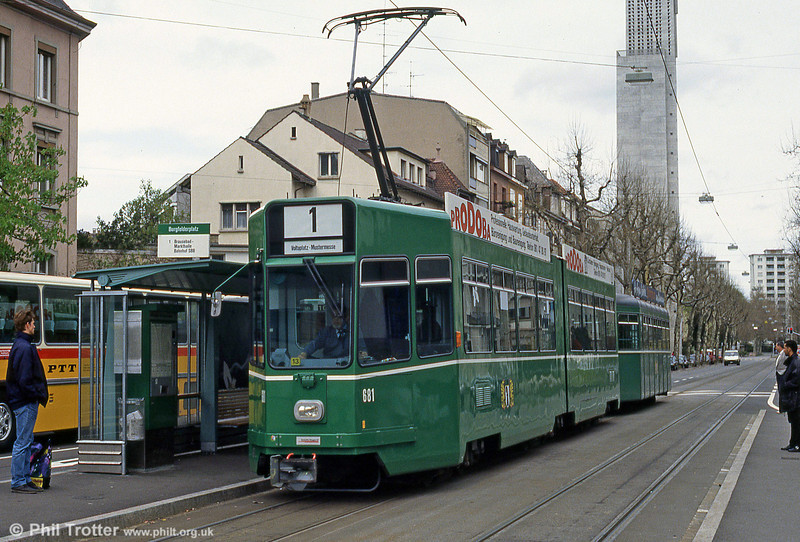 Car 681 at Burgfeldenplatz on 15th April 1992.