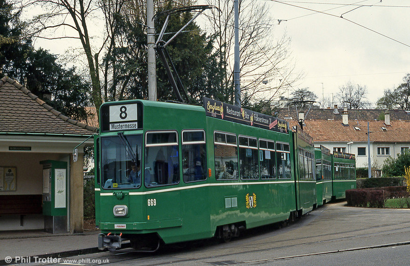 Basel car 669 at Neuweilerstrasse on 15th April 1992