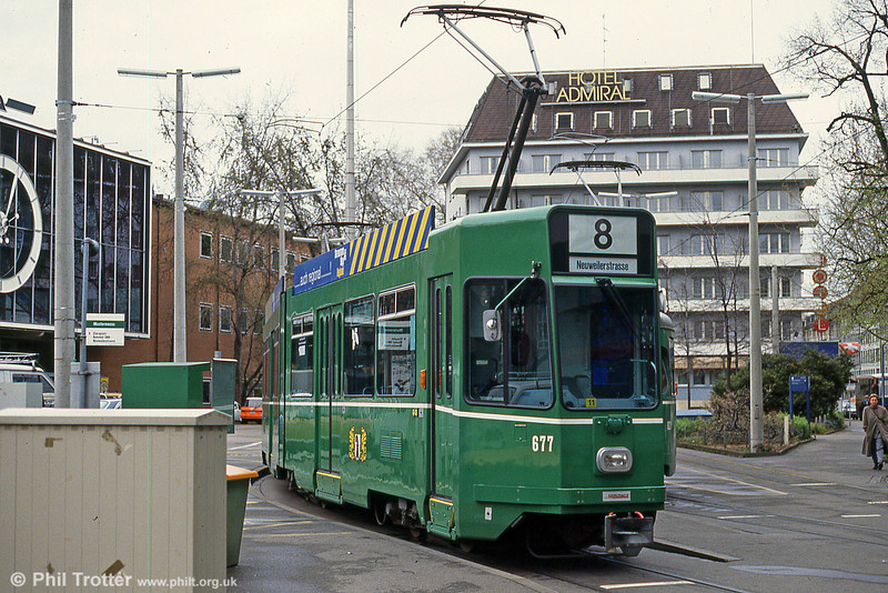 Basel car 677 at Mustermesse on 15th April 1992