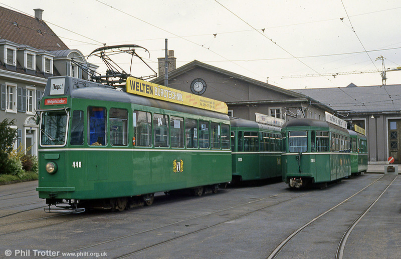 Car 448 at Dreispitz depot on 16th April 1992.