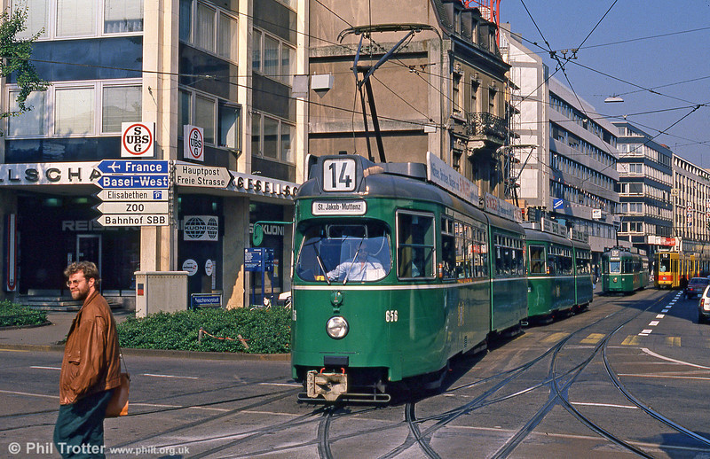 Car 656 at Aeschenplatz on 7th September 1989.