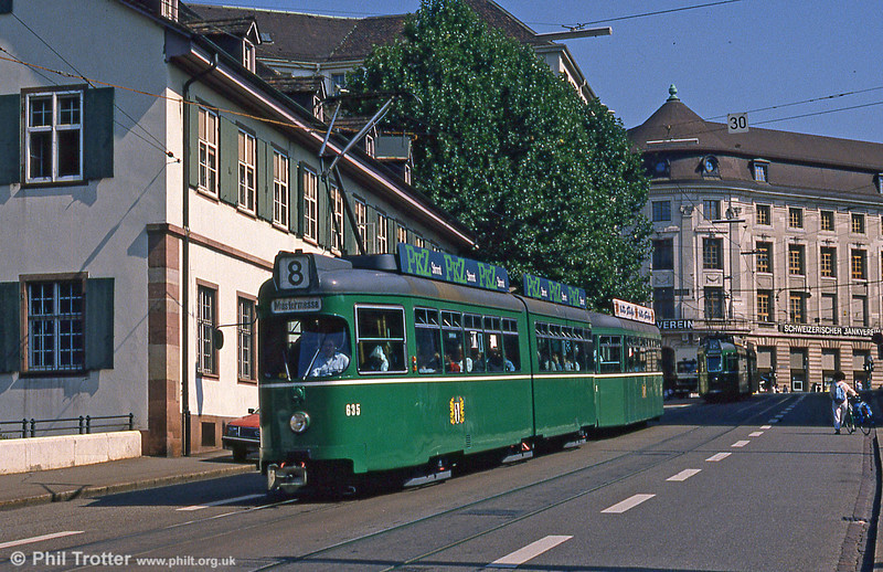 Car 635 at Barfusserplatz on 7th September 1989.