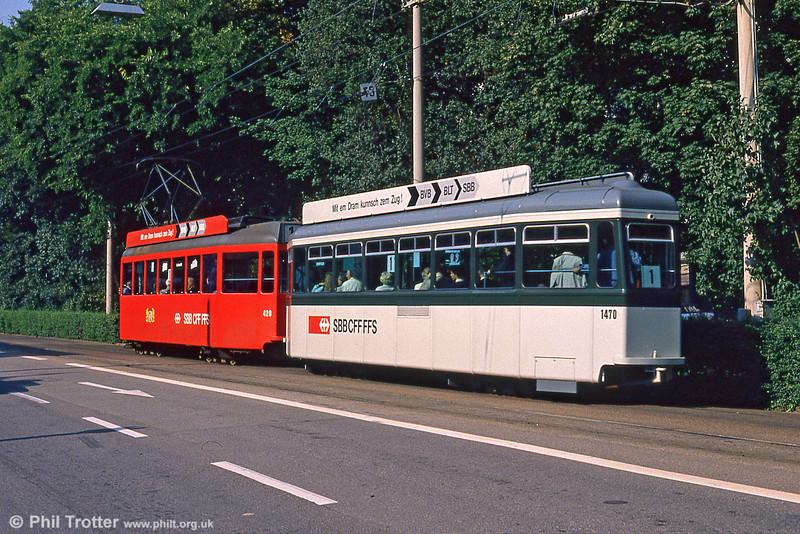 Car 420 at Aeschenplatz on 7th September 1989.