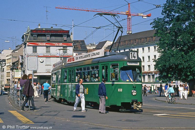 Car 650 at Barfusserplatz on 7th September 1989.