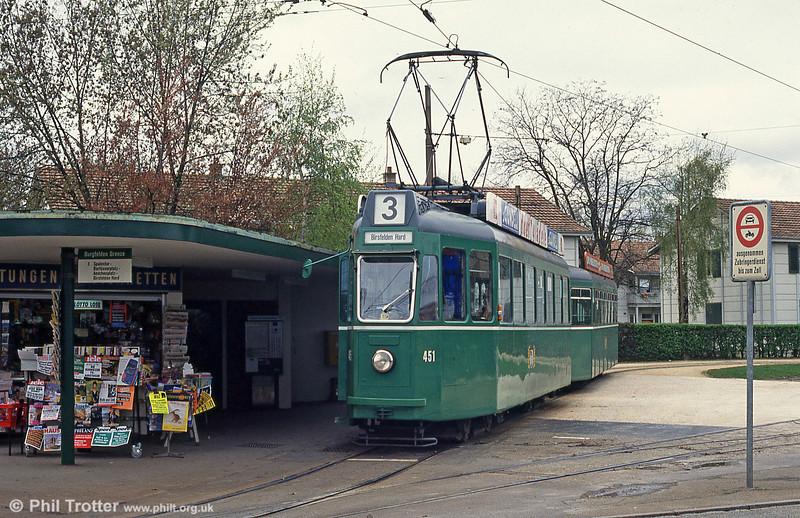 Basel car 451 at Burgfelden Grenze on 15th April 1992.