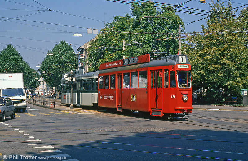 Car 420 at Aeschenplatz on 7th September 1989.