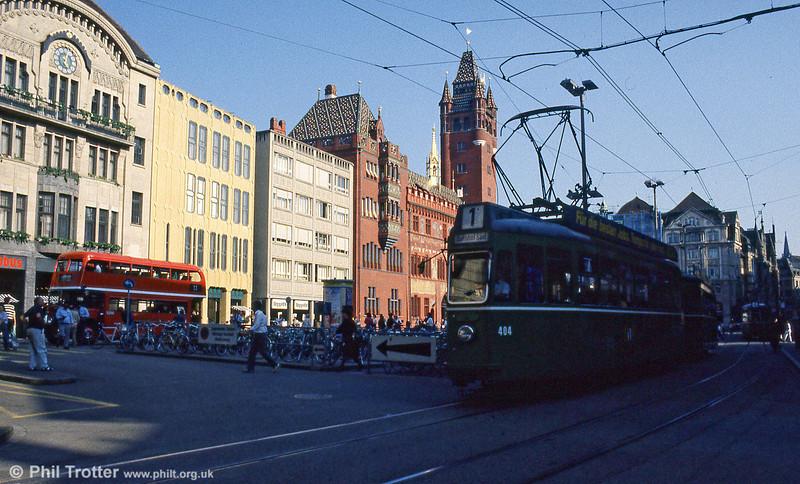 Car 404 and a glimpse of former London Transport RLH24 at Marktplatz on 7th September 1989.