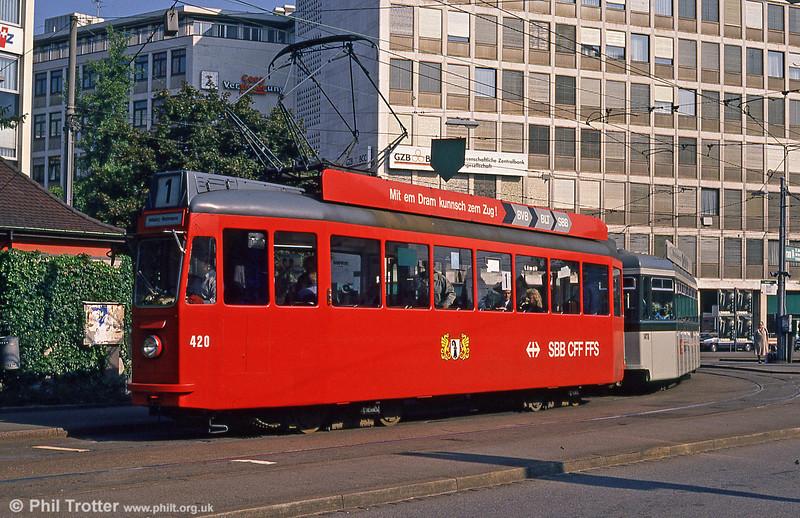 Car 420, promoting SBB/CFF at Aeschenplatz on 7th September 1989.