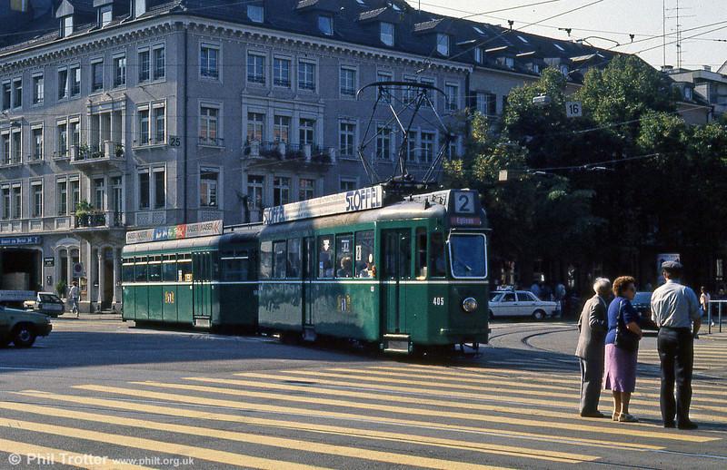 Car 405 near the Hauptbahnhof on 7th September 1989.