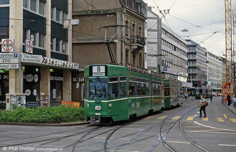 Basel car 669 at Aeschenplatz on 15th April 1992.