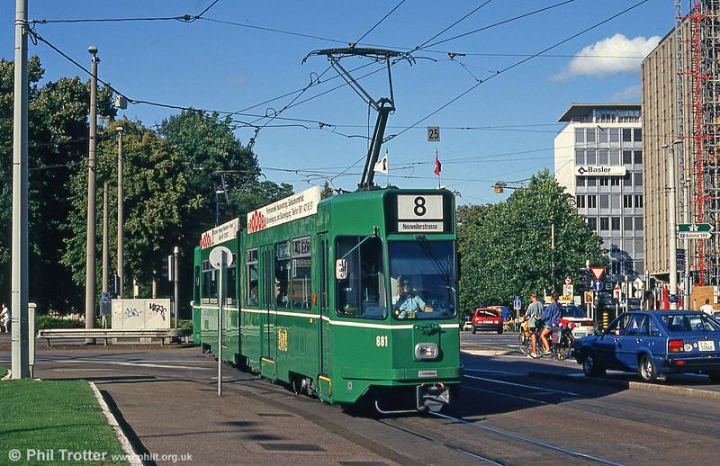 Car 681 near the Hauptbahnhof on 31st July 1993.