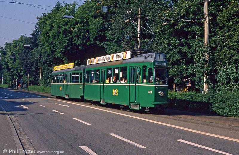 Car 413 at Aeschenplatz on 7th September 1989.