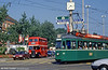 Car 421 at Mustermesse on 7th September 1989. The bus is former London Transport RLH24 (the former MXX 224), immaculately restored and in use on city tours.