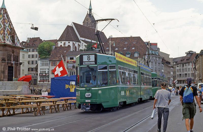 Basel car 673 at Mittlere Brucke on 31st July 1993.