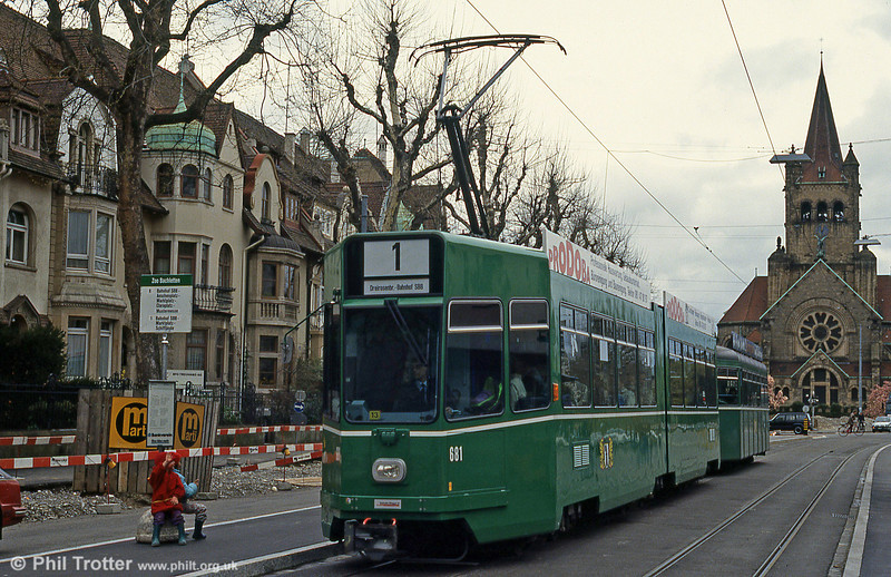 Basel car 681 at Steinerring on 15th April 1992.