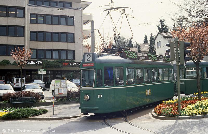 Car 419 at Kronenplatz on 15th April 1992.