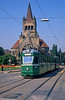 Car 601 at Bachletten on 7th September 1989. Paulus Church was designed by Swiss architect Karl Coelestin Moser (1860-1936) and built from 1898 to 1901.