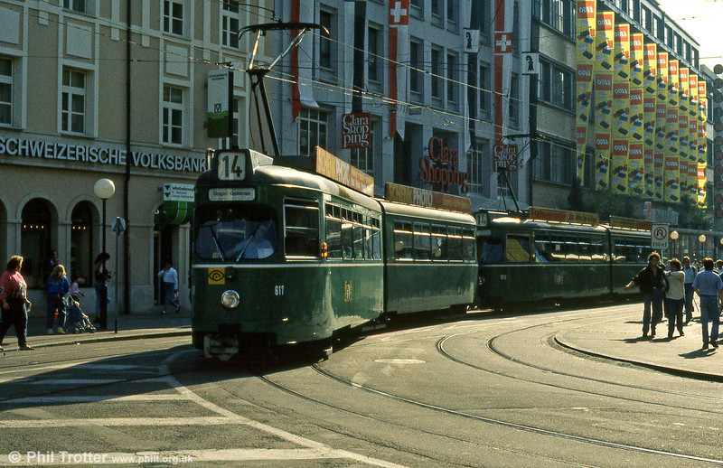 Basel car 617 at Claraplatz on 7th September 1989.