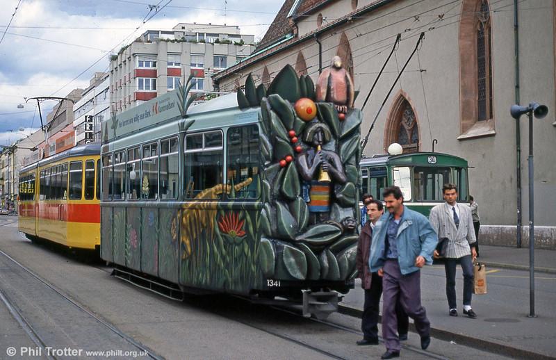 Advertising trailer 1341 at Claraplatz on 15th April 1992.