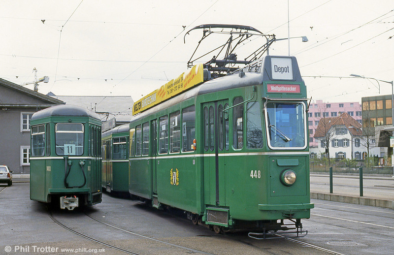 Car 448 at Dreispitz depot on 16th April 1992