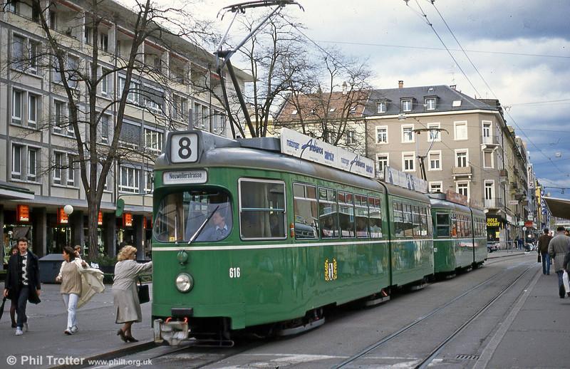 Car 616 at Claraplatz on 16th April 1992