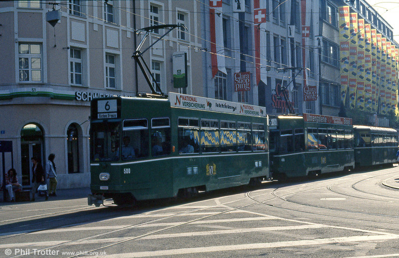 Basel car 500 at Claraplatz on 7th September 1989.