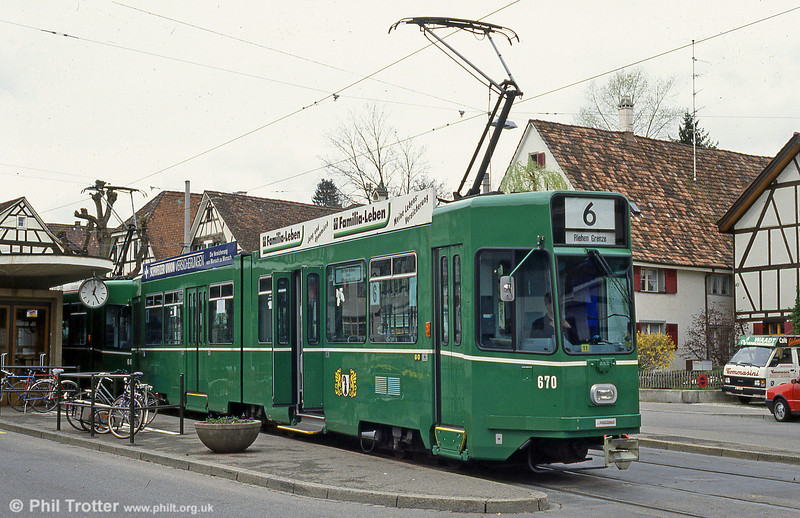 Basel car 670 at Alschwil, 15th April 1992.
