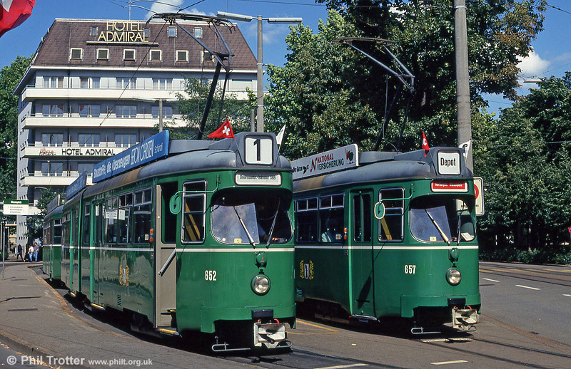 Basel 652 and 657 at Mustermesse on 31st July 1993.