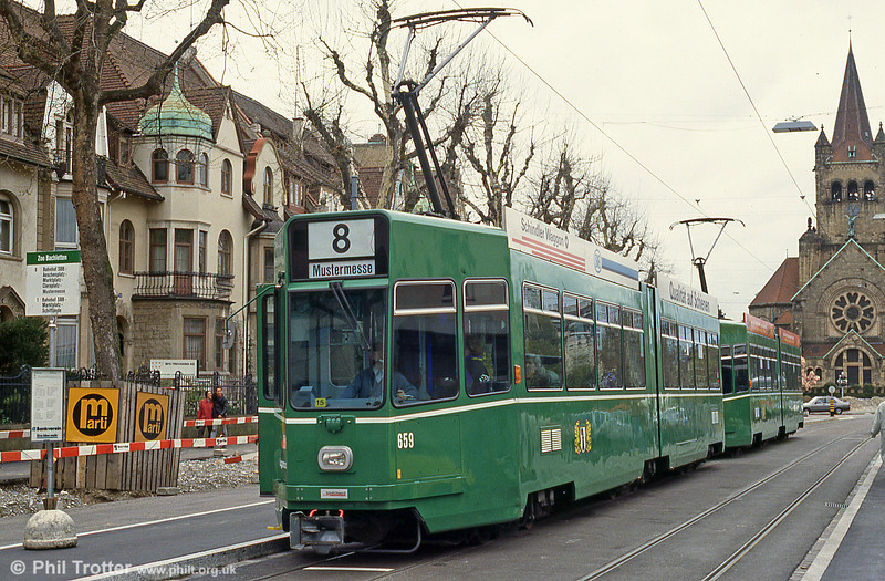 Basel car 659 at Steinerring on 15th April 1992.