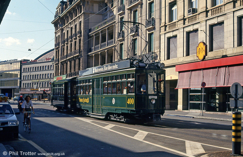 Basel car 400 near the Hauptbahnhof with a dining tour on 31st July 1993.